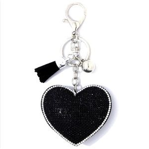 Accessories - Black Bling Puffy Heart Keychain
